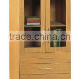 modern 3 shelf 2 glass door 4 drawer file cabinet bookcase