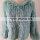 Factory direct wholesale price women's rabbit knitted fur jacket /knitted fur jacket