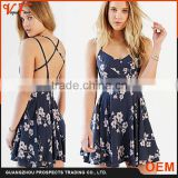 2016 Spring&Summer New Arrivals Backless Flower Print Sexy Dress With Cross Straps Online                                                                         Quality Choice