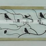 14A607BAF Rectangle decorative trees and birds design metal wall plaque