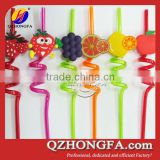 Promotional Hard Plastic Drinking Straw with Soft PVC Fruit Decoration                                                                         Quality Choice