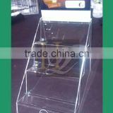 custom 3 tier acrylic makeup display stand/3 step cosmetic display rack                                                                         Quality Choice