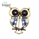 Brand Treasure owl brooch yiwu latest design personality diamond owl brooch