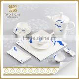 Bone china best blue flower dinnerware dinner set for 6 people