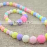 Baby Girls Round Shape Plastic Bead Candy Color Necklace Bracelet Set