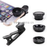 Hot selling Camera Lens Kit with 180 Degree Fisheye Lens, Wide Angle Lens, Micro Lens for Smartphones