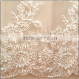 Handwork beads embroidery lady lace fabric for wedding dress                                                                         Quality Choice