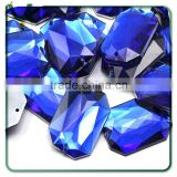 25x18mm Blue Sapphire Octagon Flat Back Sew On Gems For Craft