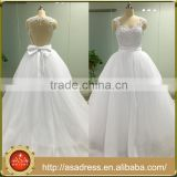 ASAJ-08 Real Pictures Sequins Appliques Sweetheart Ball Gown Backless Wedding Dresses with Bow Knot
