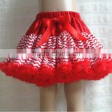 Hotsale white red chevron zig zag party petti skirt girls