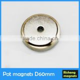 magnet pot N35 magnet Dia.60mm countersunk hole strong Pot Magnets magnet with screw hole