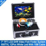 7 inch LCD Underwater Video Camera System DVR Fish Finder with 12Pcs Led Light 800TVL Fishing Camera 15M Cable +free 4GB Card