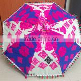 Vintage Banjara Fabric Patchwork Pink Parasol Traditional Indian Embroidered small umbrella/parasol