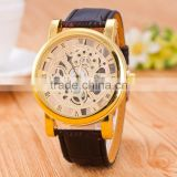Alibaba Trade Assurance Supplier Cheap Quartz Watch Mechanical Watch Face With PU leather Band