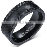 8mm Men's Black Carbon Fiber Titanium Wedding Band Ring Comfort Fit With Hammered Finish