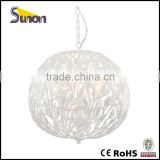 SD1094-5 Round Ball Wrought Iron Chandelier/Simple Lamp Crystal Hanging Light/Pearl White Hanging Lighting