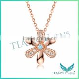 New Style Fashion Flower Rose Gold Necklace White Moissantie Diamond Pendants