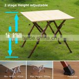 China height adjustable folding bamboo table outdoor use supplier