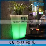 decorating rgb color changing flower planter lighted tall plastic pot vase with led light base