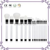 White natural hair Basic Face Kit Pro makeup brush stater set with Brow And Lash Brush