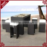 Latest high armless seat design rattan outdoor dining table and chair set