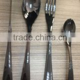 Black gold plated stainless steel cutlery set/flatware set