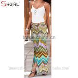 Women's Summer high waist ruched draped split asymmetric casual party beach fitted long skirt