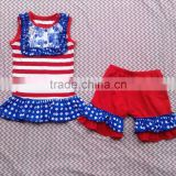 2015 boutique baby sleeveless stripe dot with ruffles clothes and dot ruffles shorts baby girls suits for july 4th