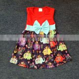 children kids dress elephant printing girl fancy skirt with solid color bow fall baby wear