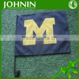 Cheap JOHNIN promotional custom Advertising Usage and Plastic Flagpole Material car flag