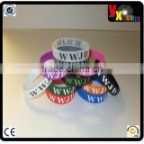 WWJD inspirational wristbands durable silicone (front/back text) 15 colors!