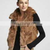 fox-collar rabbit fur knnited vest/quality supplier