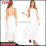 2017 New Arrival One Piece Casual Backless White Slip Maxi Dress Latest Dress Designs Photos