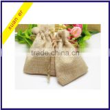 Christmas decoration natural colour small jute drawstring gift bag