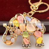 Lovely shinning cute elephant Key chain ring for women llavero para Mujer animal Car and bag accessoy
