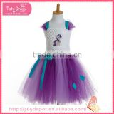 Bowknot decoration violet ballet dress with blue ribbon waistband gauze dress halloween costume