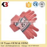 Acrylic Custom Winter Classic Solid Colored Knit Gloves handmade fingerless gloves wholesale