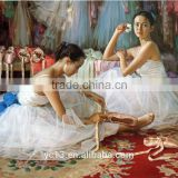 beautiful handmade ballet oil painting ballet dancer canvos hot sale cheapest handmade oil painting