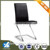 Stainless steel legs black pu leather chair