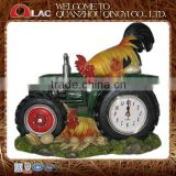 resin rooster on tractor clock figurine garden gift