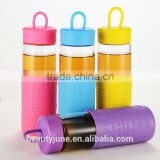 bpa free color sport glass water bottle with silicone sleeve handle caps private label insulated water bottle manufacturers