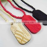Hip-Hop Good Quality US Army Dog Tag Pendant Wooden Beaded Rosary Necklaces