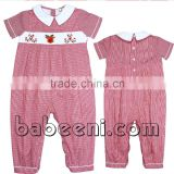 Lovely reindeer and candy long smocked bubble for baby boy