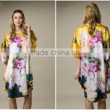 beach 100%satin silk women popular one size kaftan dress
