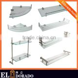 Bathroom SUS304 Contemporary Bathroom Glass Corner Shelves for Hotel and Home Decoration