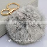 No Dye Grey Cute Genuine Rabbit fur ball pom pom keychain for car key ring Bag Pendant