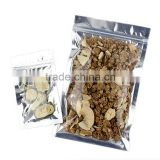 transparent triangle sealing pet/vmpet/pe ziplock dried food mushroom packaging/packing bag with zipper and tear notch