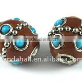 Handmade Indonesia Beads, with Brass Core, Drum, Coffee, about 15x13x13mm, hole: 3mm(IPDL-A006-5)