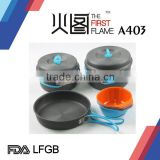 Hard anodized Aluminum camping cookware set / camping grill pan LFGB FDA with stainless steel handle A403