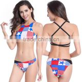 Women FLAG Bandeau Bikini Top Two Piece Push-up Padded Bathing Swimsuit